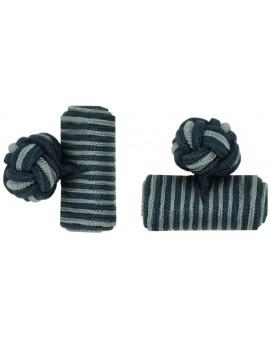 Navy Blue and Grey Silk Barrel Knot Cufflinks