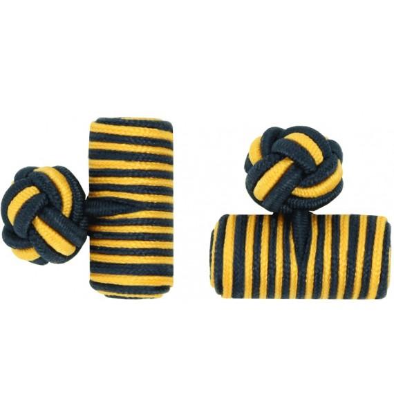 Navy Blue and Dark Yellow Silk Barrel Knot Cufflinks