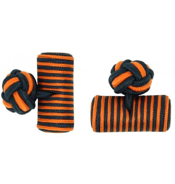 Navy Blue and Orange Silk Barrel Knot Cufflinks