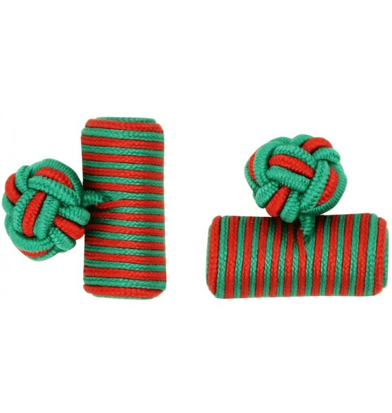 Green and Red Silk Barrel Knot Cufflinks