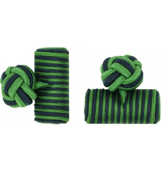 Grass Green and Navy Blue Silk Barrel Knot Cufflinks