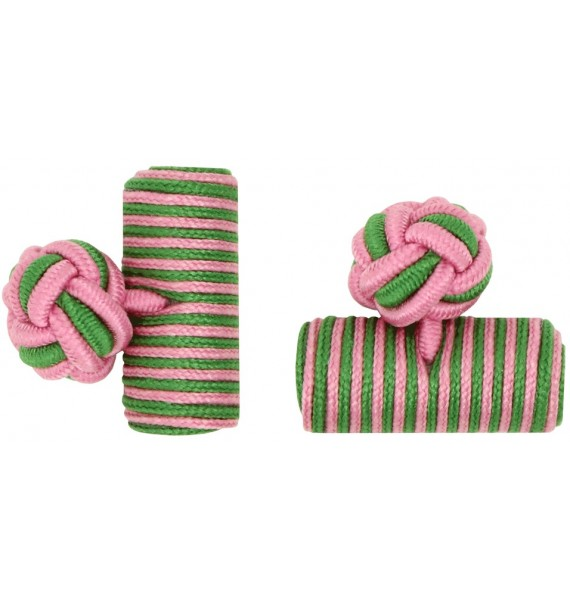 Pink and Grass Green Silk Barrel Knot Cufflinks