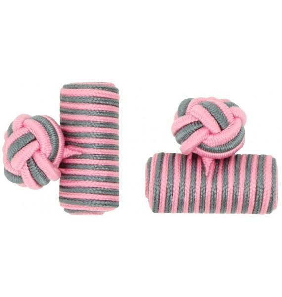 Pink and Grey Silk Barrel Knot Cufflinks