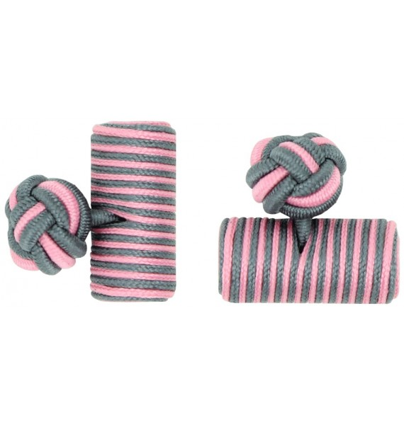 Grey and Pink Silk Barrel Knot Cufflinks