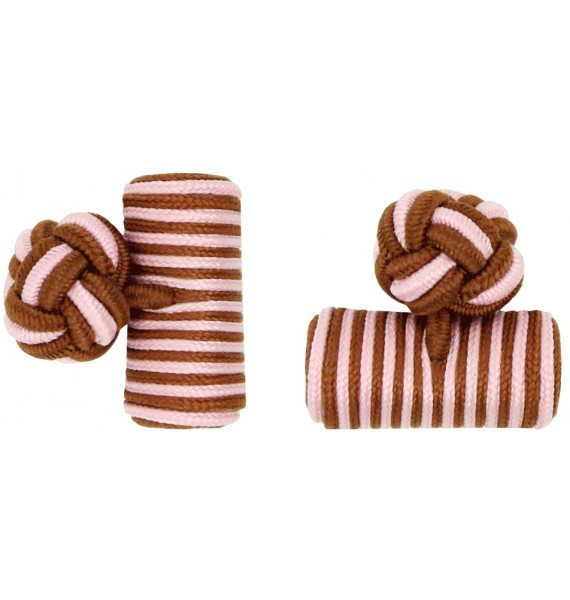 Brown and Light Pink Silk Barrel Knot Cufflinks