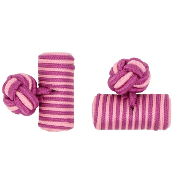 Fuchsia and Pink Silk Barrel Knot Cufflinks