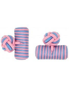 Pink and Light Blue Silk Barrel Knot Cufflinks