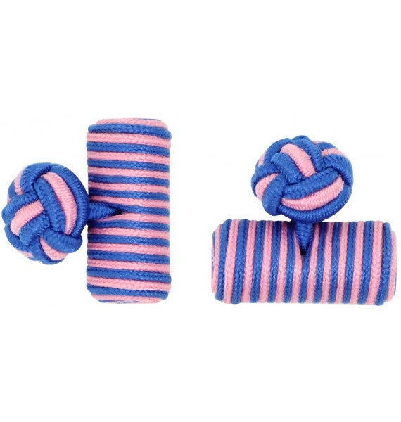 Cobalt Blue and Pink Silk Barrel Knot Cufflinks