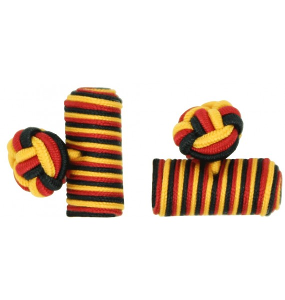 Black, Deep Red and Dark Yellow Silk Knot Cufflinks