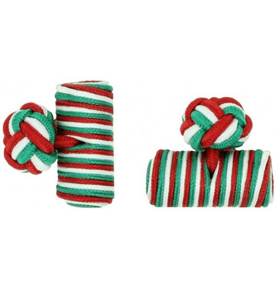 Green, White and Deep Red Silk Barrel Knot Cufflinks
