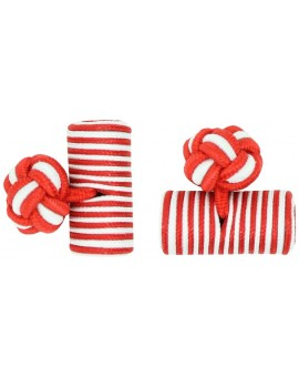 Red and White Silk Barrel Knot Cufflinks