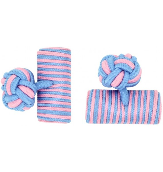 Light Blue and Pink Silk Barrel Knot Cufflinks