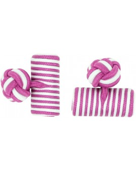 Fuchsia and White Silk Barrel Knot Cufflinks