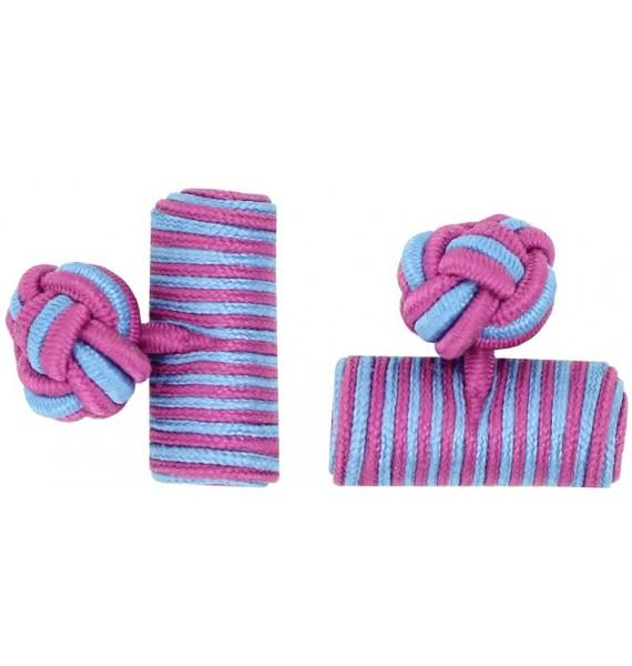 Fuchsia and Light Blue Silk Barrel Knot Cufflinks