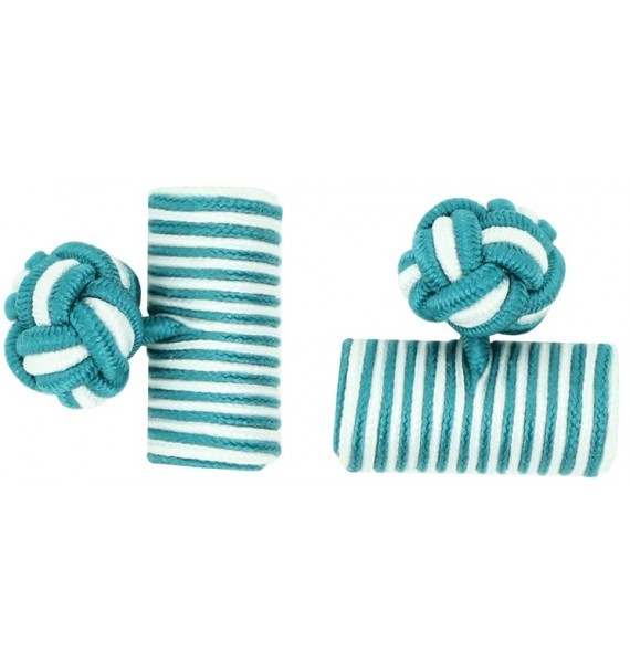 Bottle Green and White Silk Barrel Knot Cufflinks