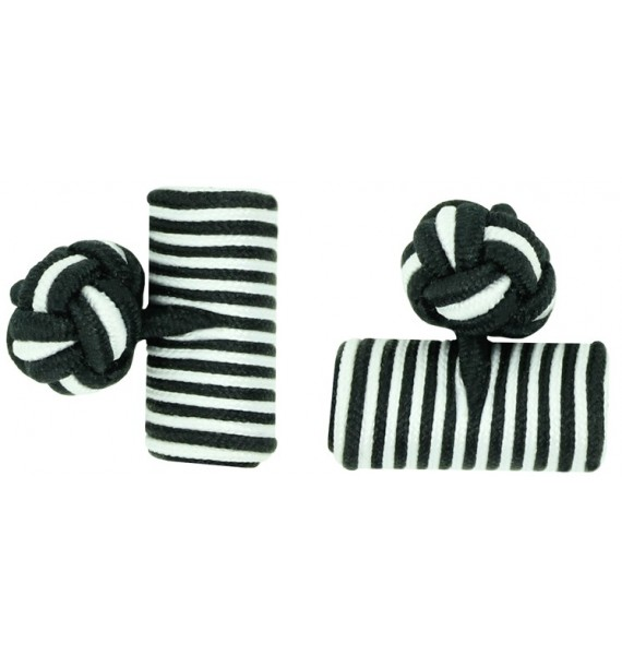 Black and White Silk Barrel Knot Cufflinks