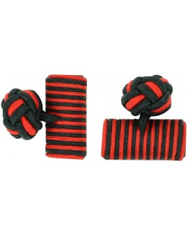 Black and Red Silk Barrel Knot Cufflinks