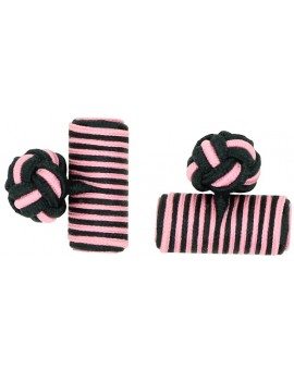 Black and Pink Silk Barrel Knot Cufflinks
