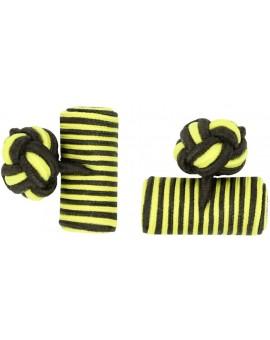Dark Brown and Yellow Silk Barrel Knot Cufflinks
