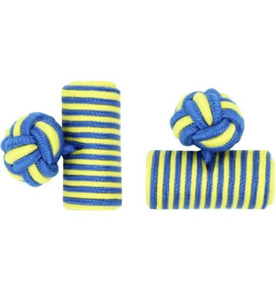 Cobalt Blue and Yellow Silk Barrel Knot Cufflinks