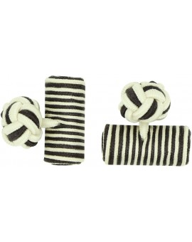 Cream and Dark Brown Silk Barrel Knot Cufflinks