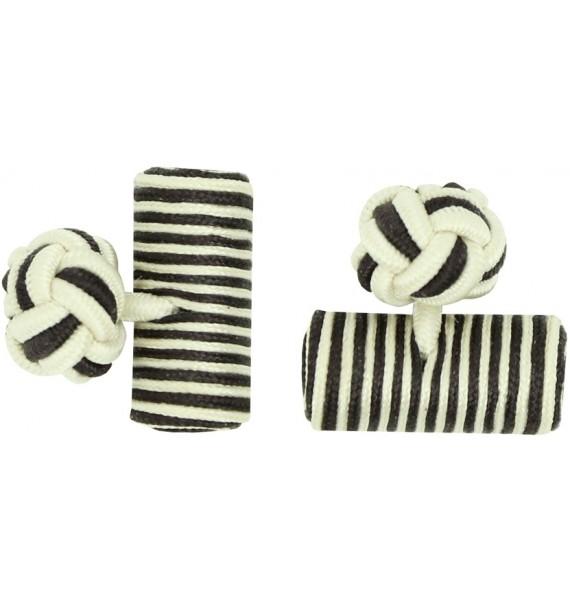 Cream and Dark Brown Silk Barrel Knot Cufflinks