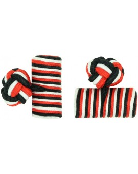 Red, White and Black Silk Barrel Knot Cufflinks