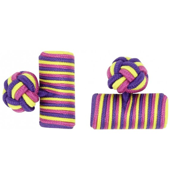 Fucshia, Yellow and Purple Silk Barrel Knot Cufflinks