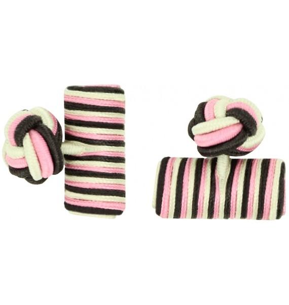 Dark Brown, Pink and Cream Silk Barrel Knot Cufflinks
