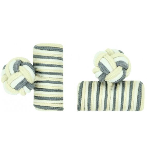 Grey, White and Cream Silk Barrel Knot Cufflinks