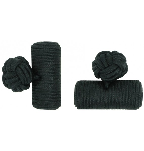 Black Silk Barrel Knot Cufflinks