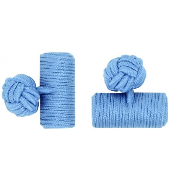 Light Blue Silk Barrel Knot Cufflinks