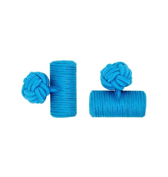 Blue Silk Barrel Knot Cufflinks