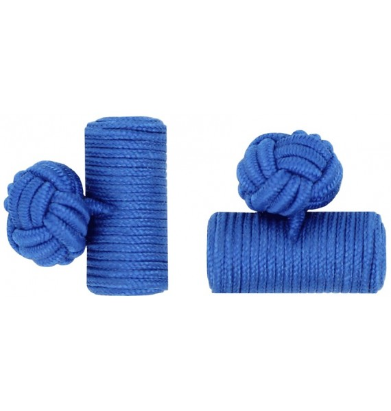 Cobalt Blue Silk Barrel Knot Cufflinks