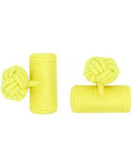 Yellow Silk Barrel Knot Cufflinks