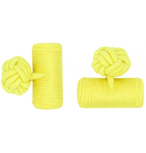 Yellow Silk Barrel Knot Cufflinks