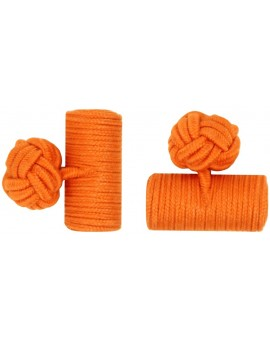 Orange Silk Barrel Knot Cufflinks