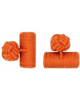 Dark Orange Silk Barrel Knot Cufflinks