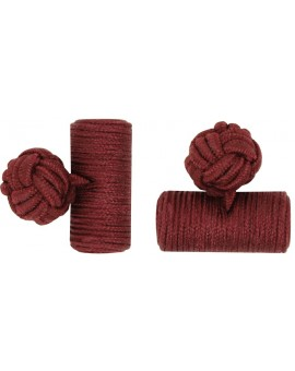 Burgundy Silk Barrel Knot Cufflinks