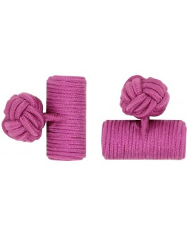 Fuchsia Silk Barrel Knot Cufflinks