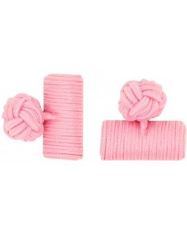 Pink Silk Barrel Knot Cufflinks