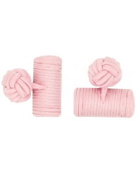 Light Pink Silk Barrel Knot Cufflinks