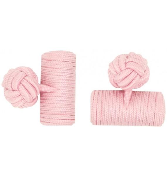 Light Pink Silk Barrel Knot Cufflinks