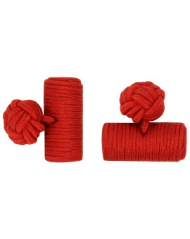 Deep Red Silk Barrel Knot Cufflinks
