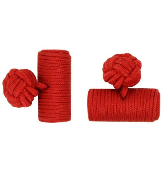 Deep Red Silk Barrel Knot Cufflinks