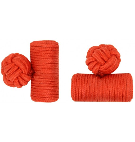 Red Silk Barrel Knot Cufflinks