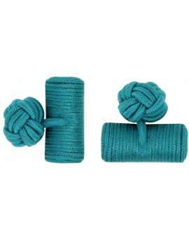 Bottle Green Silk Barrel Knot Cufflinks