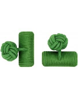 Grass Green Silk Barrel Knot Cufflinks
