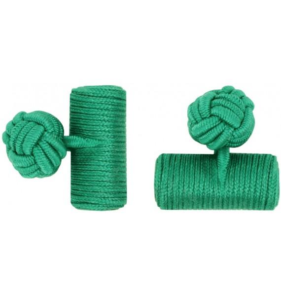Green Silk Barrel Knot Cufflinks