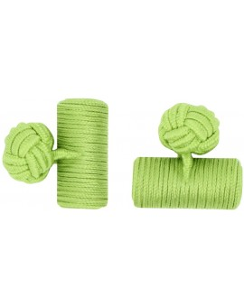 Pistachio Green Silk Barrel Knot Cufflinks